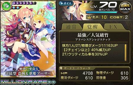 学徒型盗賊&歌姫アーサー歌姫MR++ステータス