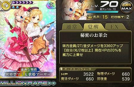 異界型マミ&歌姫アーサーMR++ステータス